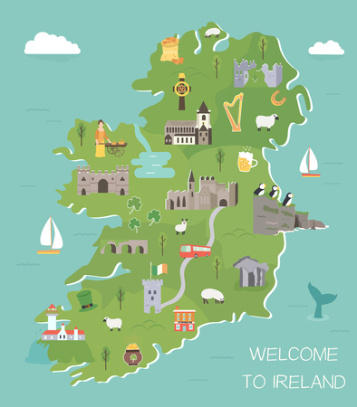 Irish map with symbols of Ireland, destinations and landmarks