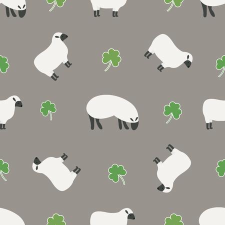 Irish shamrock, clovers, sheep pattern. Symbols of Ireland. Vector pattern for Saint Patrick's Day holiday greeting card design Vektorové ilustrace