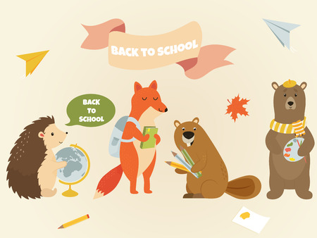 Back to school Animal characters education theme. Cute hedgehog, fox, beaver, bear