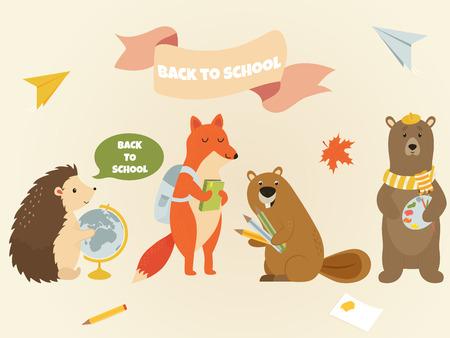 Volver a la escuela Tema de educación de personajes de animales. Lindo erizo, zorro, castor, oso