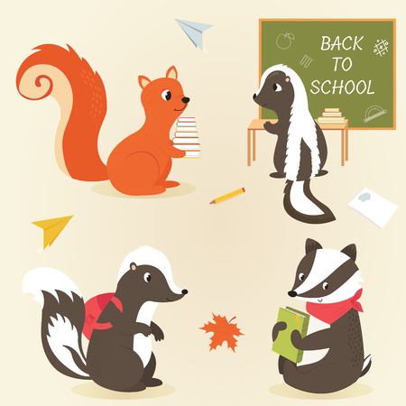 Back to school Animal characters education theme. Cute skunks, badger and squirrel Illustration