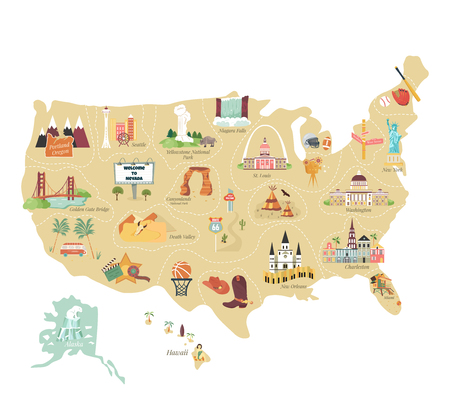 USA tourist vector map with famous landmarks and symbols. Tourist infographics, popular attractions