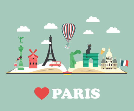 Set of Paris Attractions and famous places