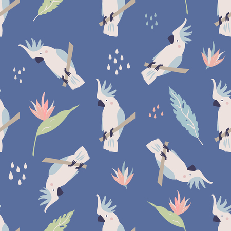 Beach tropical seamless pattern with cockatoos and green leaves