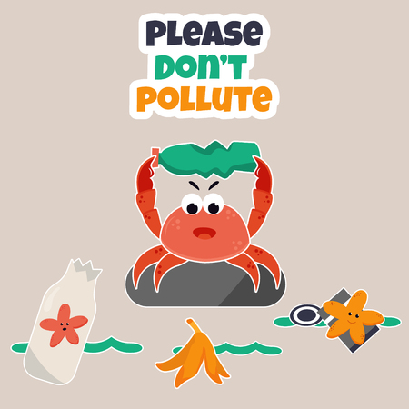 Ocean pollution problem. Eco poster Stop pollution with angry crab Illustration