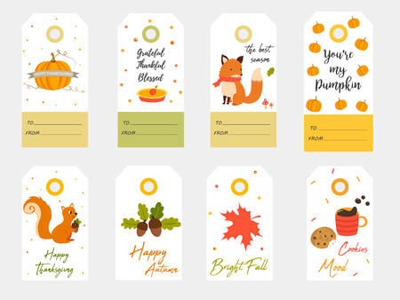 Big set of tags for autumn joy and fall holidays