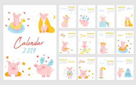 2019 calendar with funny pig. Monthly pages. Character design. editable template