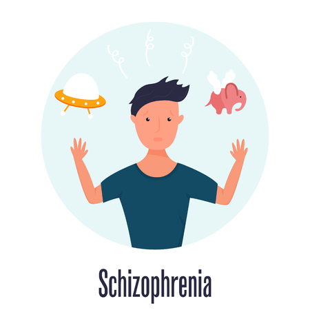 Man having hallucinations. Schizophrenia problem. Symptoms and pathology