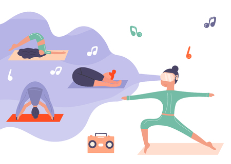 Excited girl in virtual reality doing yoga. Augmented reality Stock Vector - 109928805