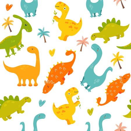 Bright seamless pattern with cute dinosaurs Çizim