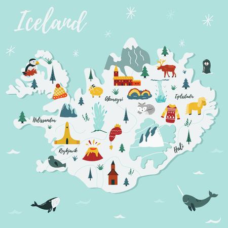 IJsland cartoon vector kaart. Reisillustratie met oriëntatiepunten, dieren en natuurplaatsen. Afbeelding met alle belangrijke toeristische attracties.