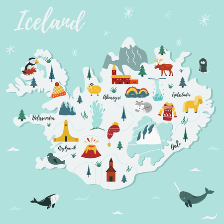 Iceland cartoon vector map. Travel illustration with landmarks, animals and nature places. Image with all main tourist attractions.
