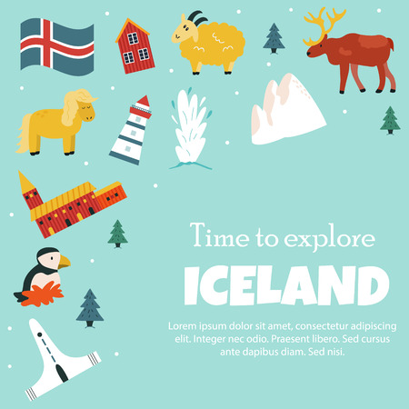 Iceland cartoon vector banner. Travel illustration with landmarks, animals and nature places. Image with all main tourist attractions.