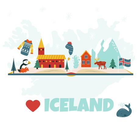 Iceland cartoon vector banner. Travel illustration