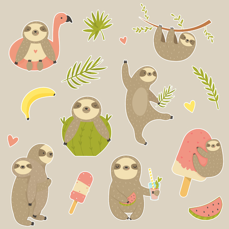 Big set of stickers with cute sloth. Animal character design