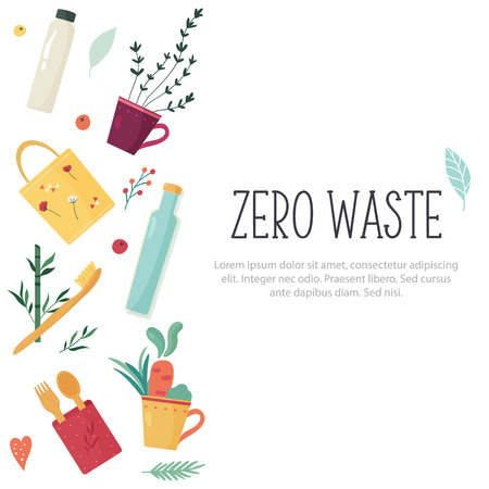 Zero Waste concept design with elements.