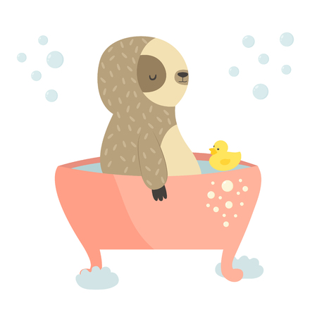 Cute sloth having a bath. Animal design. Suitable for prints, greeting cards Stock Photo