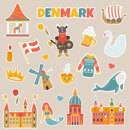 Set of stickers of danish famous places, symbols, characters, animals Vektorgrafik