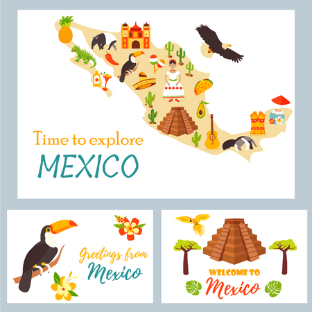 Map of Mexico with destinations, animals, landmarks.