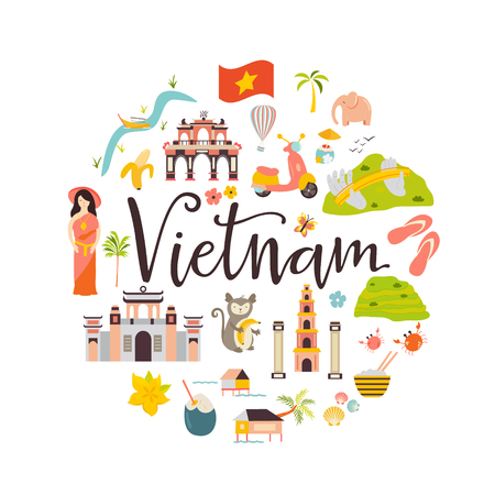 Vietnam cartoon vector banner. Travel illustration with landmarks, animals and nature places. Image with tourist attractions.