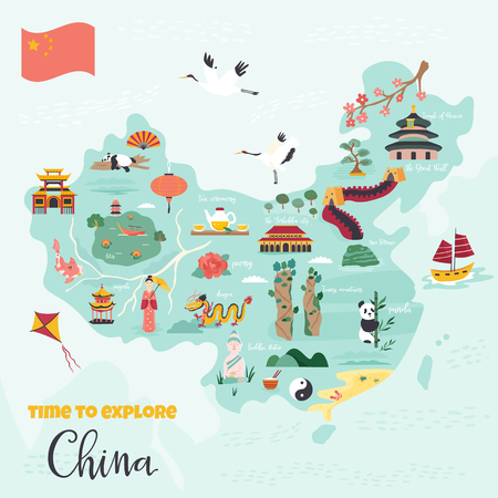 Chinese cartoon map with destinations, symbols