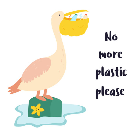 Eco poster. Pelican and waste inside the beak Stock Photo