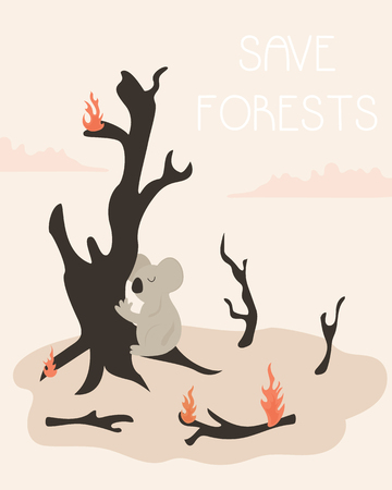 Eco Poster save forests. Burnt trees, burning branches and koala