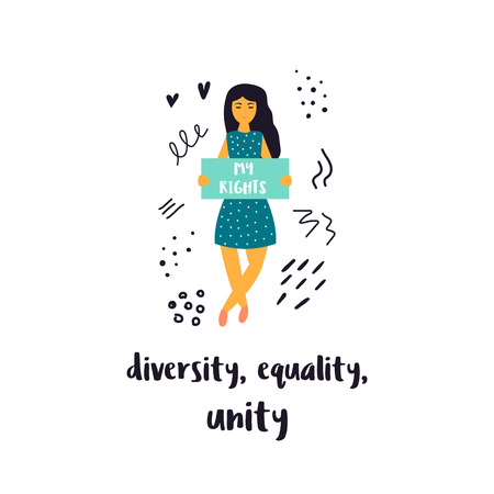 Vector illustration of protesting young woman holding a banner. Hand drawn image isolated on white background. Diversity. Equality, Unity. Empower concept. Vetores