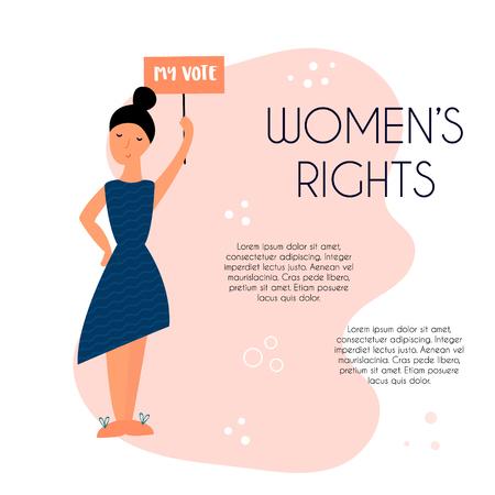 Illustration dessinée à la main de protester contre une jeune femme noire. Concept féminin et conception de l'autonomisation des femmes. Bannière avec place pour le texte
