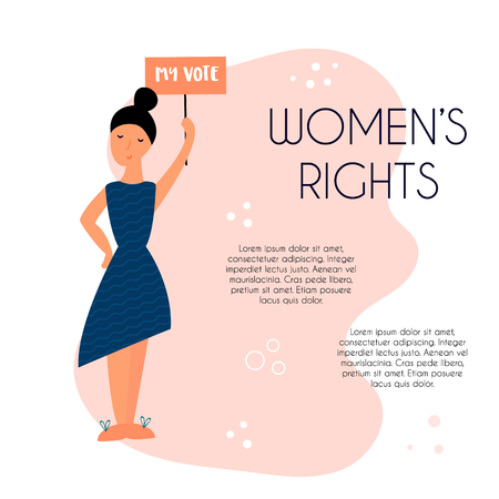 Hand drawn illustration of protesting young black woman. Feminine concept and woman empowerment design. Banner with place for text