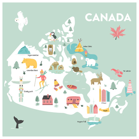 Vector illustrated cartoon map of Canada with symbols, animals, famius destinations