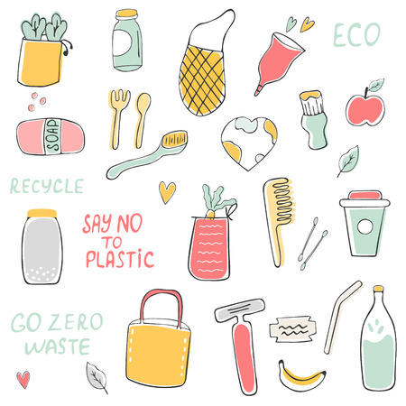 Big set of hand drawn zero waste icons Illusztráció
