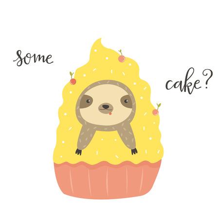 Funny cute sloth in cake. Postcard, poster, invitation design. 일러스트
