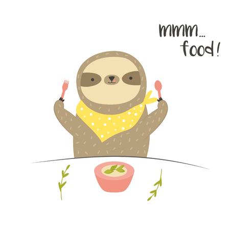 Funny cute eating breakfast. Postcard, poster, invitation design.