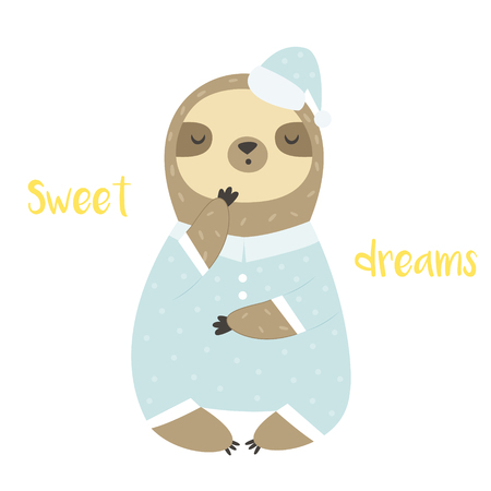 Sweet cute yawning sloth in pyjama and bed cap Vector Illustration
