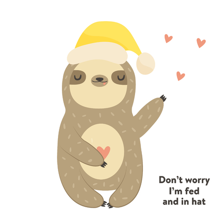 Funny cute sloth in hat. Postcard, poster, invitation design.