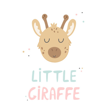 Giraffe hand drawn face. Vector character. Baby print, textile, book, baby shower template card