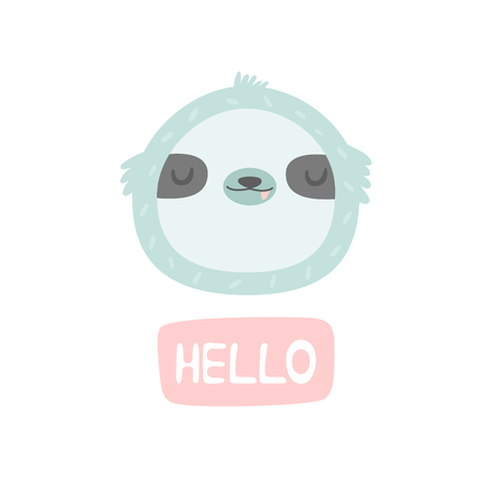 Hand drawn smiling sloth. Vector character. Baby print, textile, book, baby shower template card