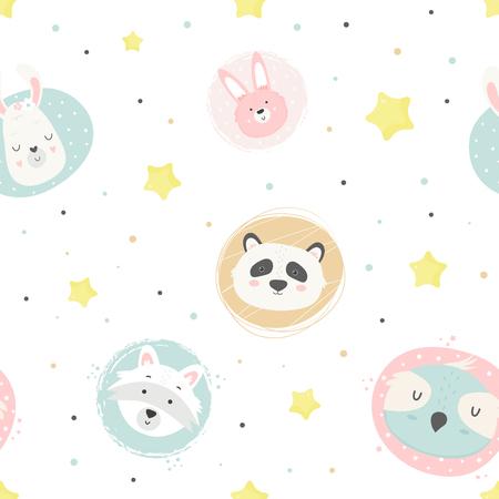 Modèle sans couture magique mignon avec le panda d'animaux, le hibou, le lama, le lapin, le raton laveur