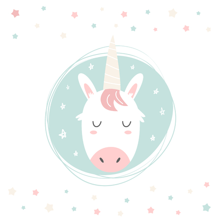 Unicorn hand drawn face. Vector character. Baby print, textile, book, baby shower template card