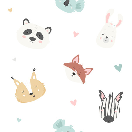 Cute seamless pattern with koalas, pandas, llamas, squirrels, zebras, foxes. Tender and soft pastel colors. For baby prints, textiles