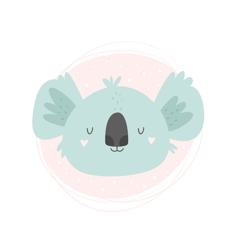 Koala hand drawn face. Vector character. Baby print, textile, book, baby shower template card