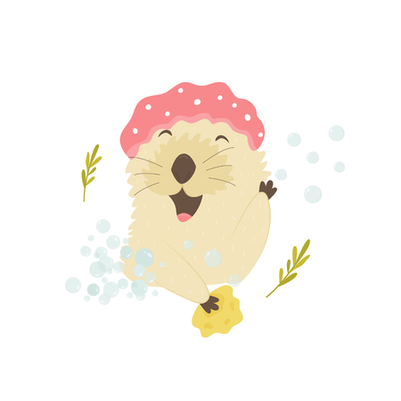 Funny otter in a shower cap taking shower. Animal character vector illustration