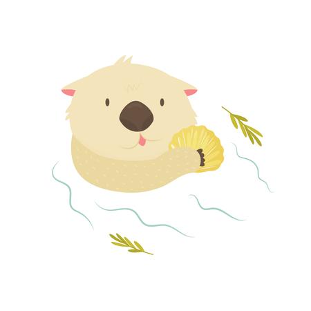 Lontra divertente con conchiglia che galleggia in un fiume Vettoriali