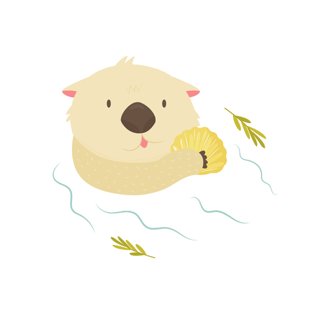 Funny otter with shell floating in a river