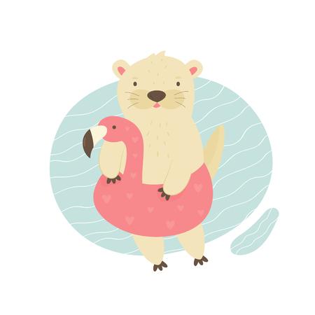 Simpatica lontra che nuota in una piscina con un fenicottero giocattolo. Illustrazione vettoriale di carattere animale. Stampa design