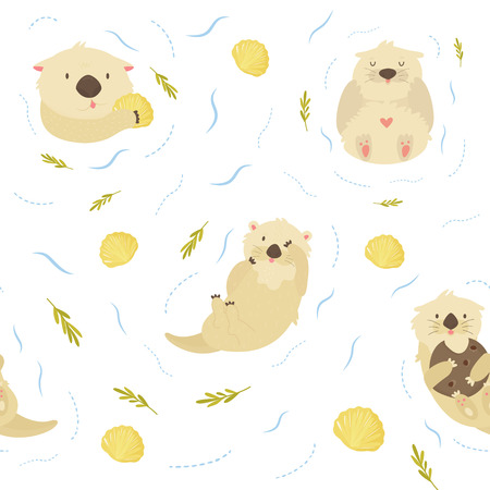 Seamless pattern with cute swimming otters