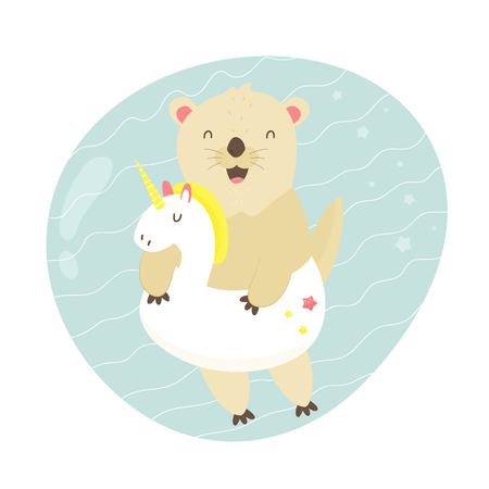 Cute otter swimming in a pool with a unicorn toy. Animal character vector illustration. Print design