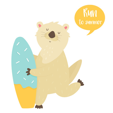 Cute running otter with surfboard. Animal character design. Vector illustration