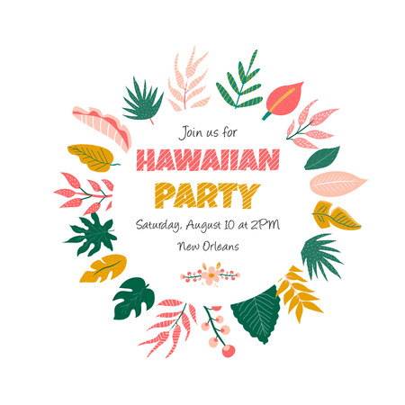 Trendy summer tropical leaves banner for invitations, greeting cards. Aloha, hawaiian, cocktail party